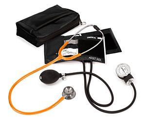 Aneroid Sphygmomanometer / Clinical I Stethoscope Kit, Adult, Neon Orange, Print