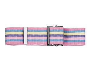 Cotton Gait Belt with Metal Buckle, Stripes Hot Pink, Print