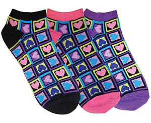 Fashion Socks, 3 Pack, Four Square Hearts, Print