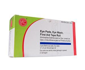 Eye Wash, 1 unit, Sterile Eye Pads, 2 pcs, Tape Roll, 1 pc